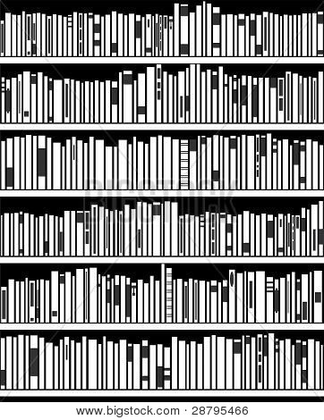 Vector Abstract Black And White Bookshelf