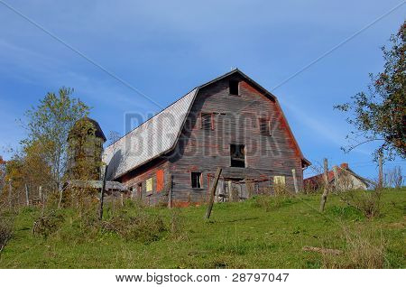 Barn And Wooden Silo Virginia