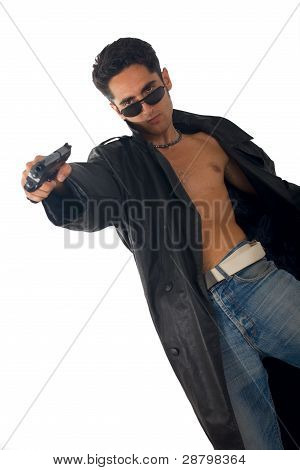 Handsome Man With Gun In Leather Raincoat
