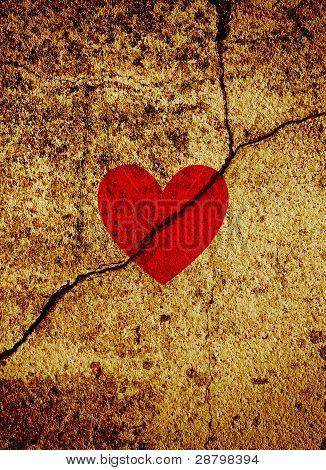 Red Valentine Heart On Cracked Grunge Background
