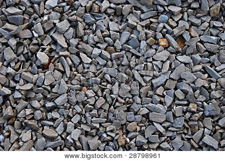 Railroad track ballast close-up