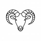 Goat Head Icon Isolated On White Background. Goat Head Icon In Trendy Design Style. Goat Head Vector poster