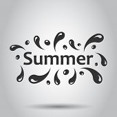 Summer Splash Spray Vector Icon In Flat Style. Summertime Illustration On White Background. Summer W poster