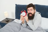 Man Bearded Hipster Sleepy Face Waking Up. Daily Schedule For Healthy Lifestyle. Again Unhappy In Mo poster