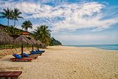 Sand Tropic Palms And Sunbeds. Best Kuantan Beach Resorts. Luxury Vacation At Crystal Clear Waters A poster
