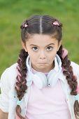 Kid In Headphones. Spring Mood. Mp3 Player. Funny Little Girl. Audio Book. Little Girl Listen Music. poster