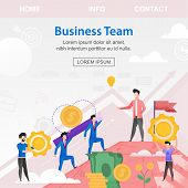 Square Flat Banner Business Team Investors Young. Vector Illustration Against Sky And White Sun. Ove poster