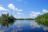 stock photo of temperance  - Blue Skies on South Temperance Lake in the Boundary Waters Canoe area - JPG