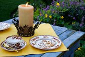 picture of tea party  - Garden tea party with fine china in garden - JPG