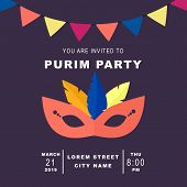 Happy Purim, Jewish Celebration Party Invitation Concept. Purim Masquerade Background With Mask, Gar poster