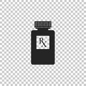 Pill Bottle With Rx Sign And Pills Icon Isolated On Transparent Background. Pharmacy Design. Rx As A poster