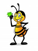 stock photo of bee cartoon  - Cartoon bee holding a bundle of money with a smile and hands on hips - JPG