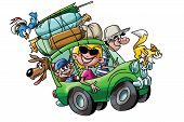 Cartoon Family Going On Vacation With Their Cars Fully Loaded Vector Illustration poster