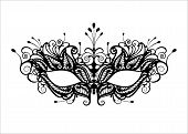 Carnival Mask Icon Black Silhouette Isolated On White Background. Laser Cut Mask With Venetian Embro poster
