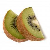 Two kiwi fruit slices isolated on white background closeup. Segment of kiwi slice,  flatlay. Flat la poster