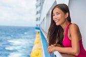Happy Asian travel tourist woman relaxing on cruise ship deck enjoying summer Europe destination vac poster