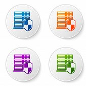 Color Server With Shield Icon Isolated On White Background. Protection Against Attacks. Network Fire poster