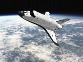 image of missles  - Space Shuttle leaving earth 3d render going left - JPG