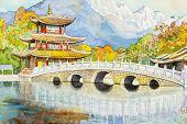 Black Dragon Pool, Famous Pond In The Scenic Jade Spring Park. poster