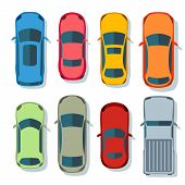 Cars Top View Vector Flat. Vehicle Transport Icons Set. Automobile Car For Transportation, Auto Car  poster