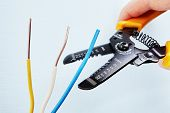 Electrician Uses The Wire Stripper Cutter To Remove Of Insulation From The Tip Of Each Of The Wires  poster