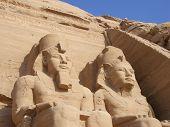 image of aswan dam  - Statues of Ramses at Abu Simbel temple in Egypt - JPG