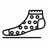Female Sock Icon. Outline Female Sock Icon For Web Design Isolated On White Background poster