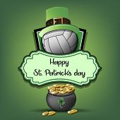 Happy St. Patricks Day. Volleyball Logo Template Design. Volleyball Ball With St. Patrick Hat And Po poster