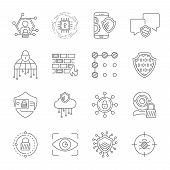 Cyber Security, Internet Protection And Data Privacy Vector Icons Set. Included The Icons As Securit poster