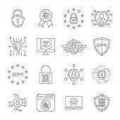 Data Protection And Cyber Security Thin Line Icons Set. Cyber Security, Data And Network Protection. poster