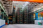 The Interior Of A Large Warehouse Of Heavy Iron Products And Metal Goods With Pallet Storage Shelves poster