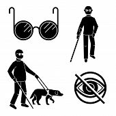 Blind People Icons Set. Simple Set Of Blind People Vector Icons For Web Design On White Background poster