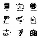 Safe Hotel Icons Set. Simple Set Of 9 Safe Hotel Icons For Web Isolated On White Background poster