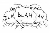 Cartoon Conceptual Drawing Or Illustration Of Group Of Text Or Speech Balloons Or Bubbles Saying Bla poster