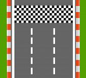 Race Finish Top View. Road With Finish Line. Finish Line Racing. Vector Stock poster
