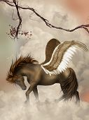 stock photo of pegasus  - brown pegasus in the sky with branches - JPG