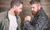 Mafia Dealer. Real Friendship Of Mature Friends. Male Friendship Concept. Brutal Bearded Men Wear Le poster