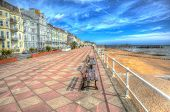 Hastings Promenade And Seafront With Hotels And Buildings East Sussex England In Colourful Hdr poster