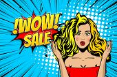 Beautiful Sexy Young Blonde Girl In Pop Art Style Vector Illustration. Emotion Of Surprise Super Sal poster