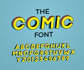 The Comic Font. Vector Illustration 3d Design. Letters And Numbers Design With Super Heroes Comic Bo poster