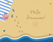 Hello Summer Square Banner. Top View Of Sunny Beach. Summertime Vacation Background. Towel, Bag, Sli poster