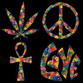 foto of ankh  - Four Colorful Flower Filled 60s Symbols including pot leaf peace symbol ankh and love - JPG