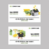 Money Vector Piggy Bank Business Card Pig Box Financial Bank Or Money-box With Investment Savings An poster
