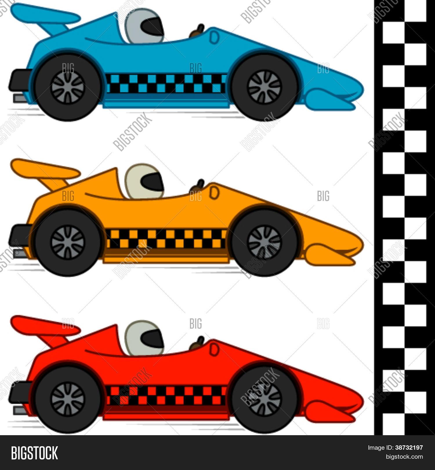 dessin anim conceptuel vector voitures de course en trois couleurs diffrentes ligne de finition inclus