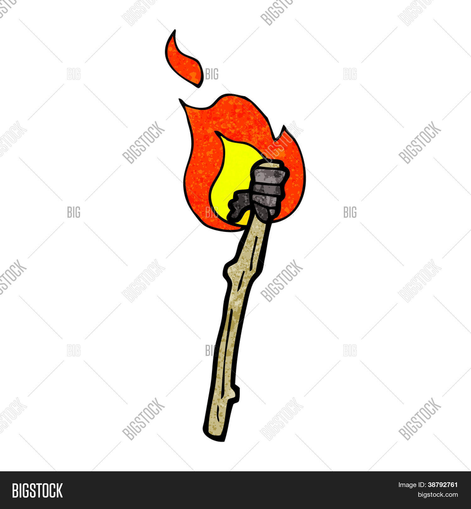 Burning wooden torch png