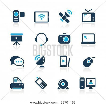 Los iconos de comunicación / / azul serie