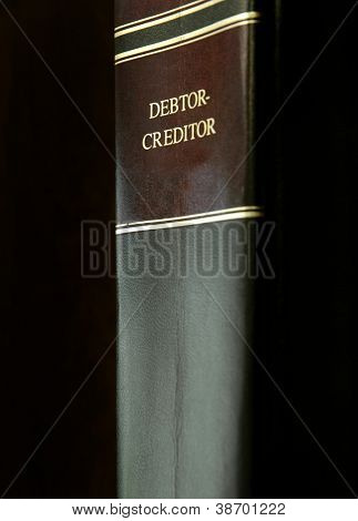 Close up of a single book on Debtors and Creditors