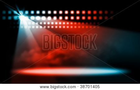 colorful and vivid stage spotlight on stage background