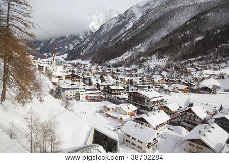 View on skiing resort Solden in Austria through glass of lift-elevator.