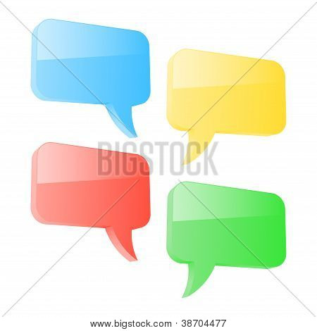 Set Of Colorful 3D Speech Bubbles. Vector Illustration
